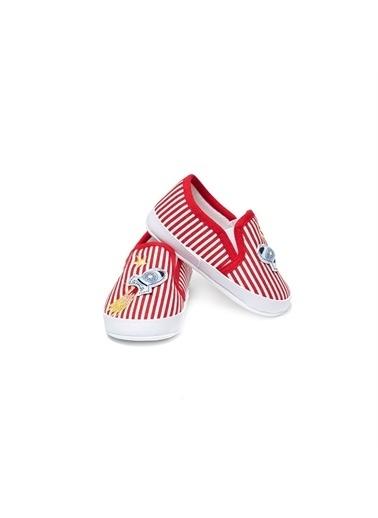 First Step Bebe Ayakkabı Siyah Çizgili Kırmızı